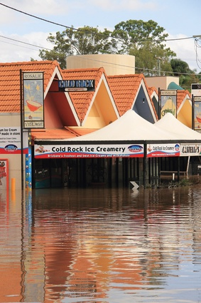 The Brisbane suburb of Rosalie under floodwaters, 13 January 2011.