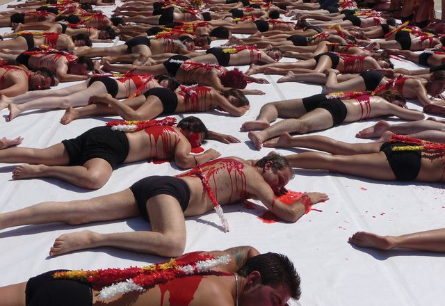Triggering empathy: a bullfighting protest in front of the Guggenheim Museum, Bilbao, Spain, 2009.