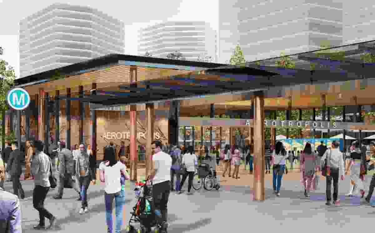 Indicative render of the Aerotropolis metro station.