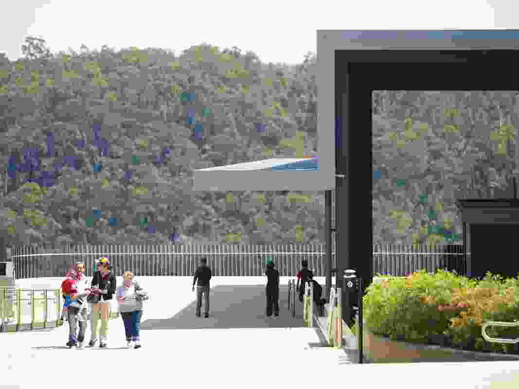 The entry to the visitor centre, with upper viewing platform beyond.