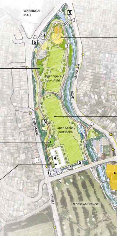 A plan from the Northern Beaches Sportsground Strategy showing how the northern section of the Warringah Golf Course would be converted for use as a public park.