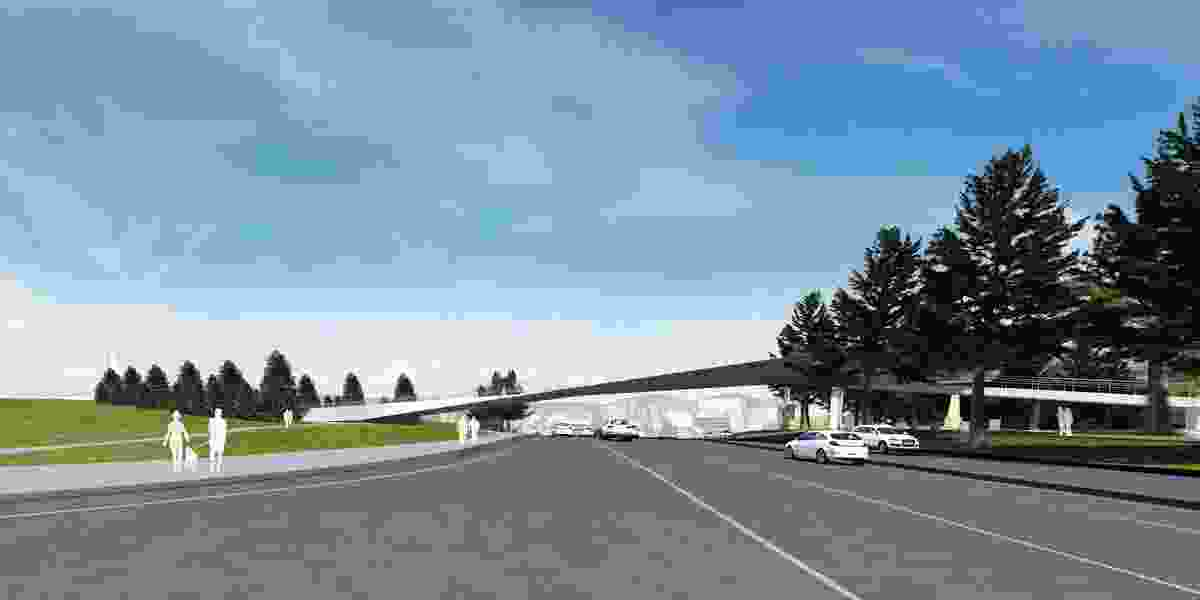 The proposed Tasman Highway Memorial Bridge by Denton Corker Marshall.