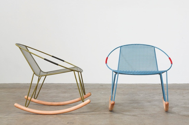 Adam Goodrum's Volley rocking chairs are made by Australian manufacturer Tait.