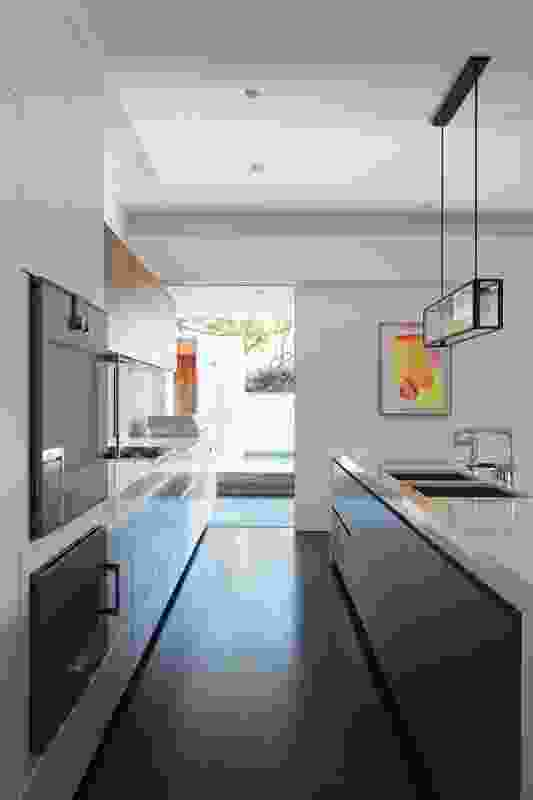 The sight line from kitchen to garden. Artwork: Kate Banazi.