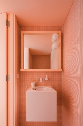 "The coloured bathrooms are an element the clients ""love living with, but would never have thought of."""