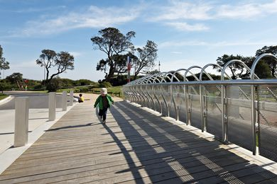 The bridge offers pedestrians a place to sit, rest, walk and view.