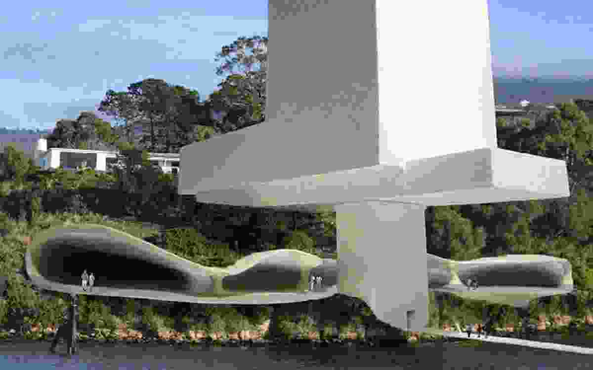 The casino design features sculptural curves and an open garden, and is depicted spilling out over the River Derwent.