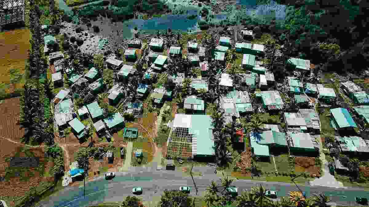 Aerial view of Muanivatu settlement in Suva, Fiji.