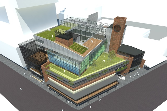 The proposed community hub building in the Munro site redevelopment by Bates Smart and Six Degrees Architects.