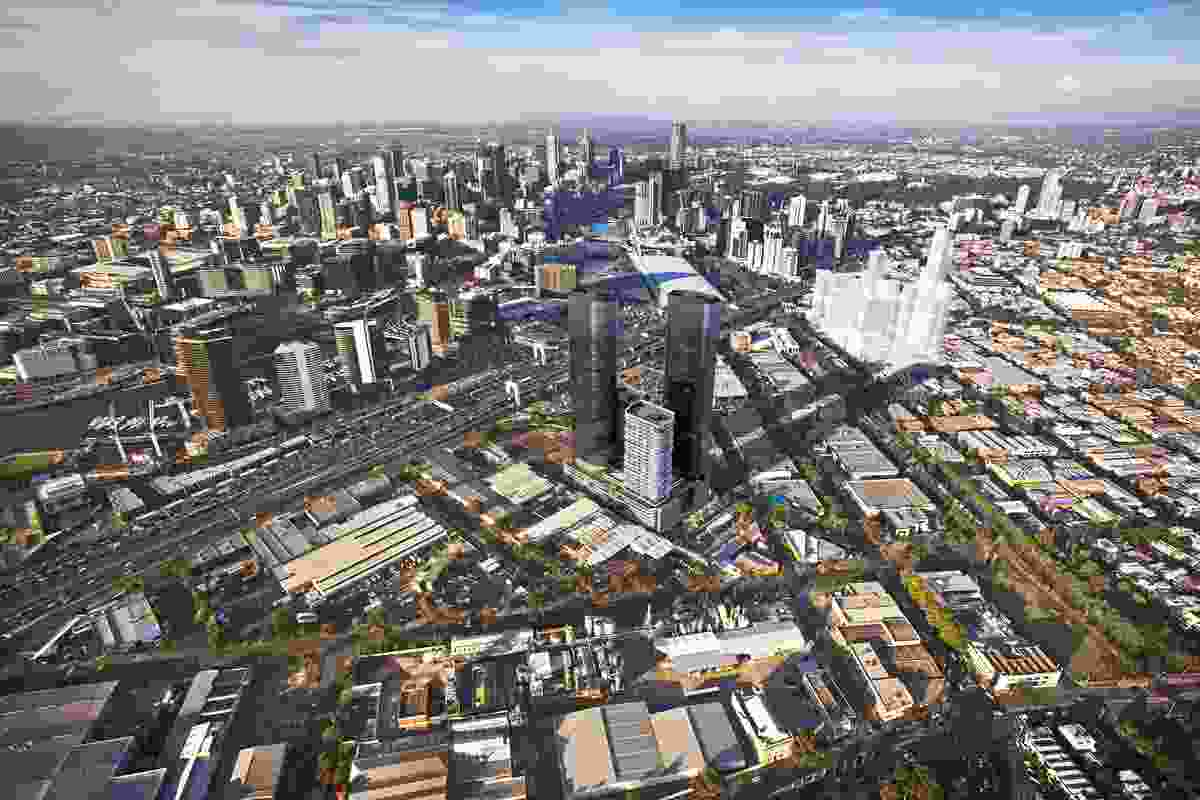 An aerial view of the $400m Rothelowman project in the Sandridge precinct at Fishermans Bend.
