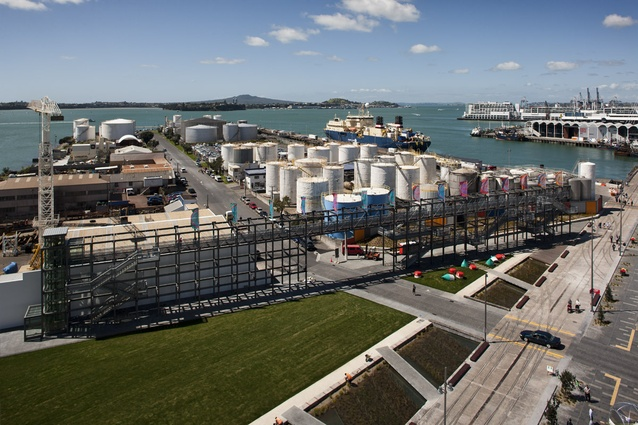 To the north of Silo Park the gantry is 100 metres long and nine metres high, designed  as part folly / part lookout, arbour and event framework.