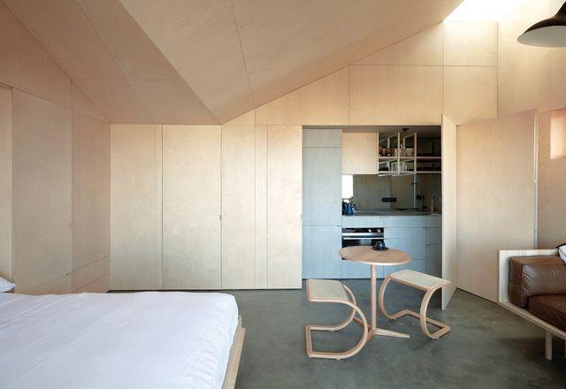 胶合板蒙皮提供了跨越墙壁、细木工和独特拱形天花板的连续性。