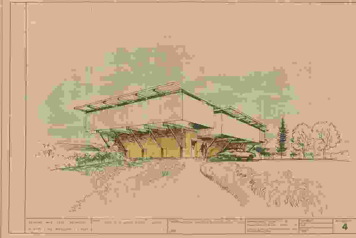 An original sketch of the Lyons House by Robin Boyd.