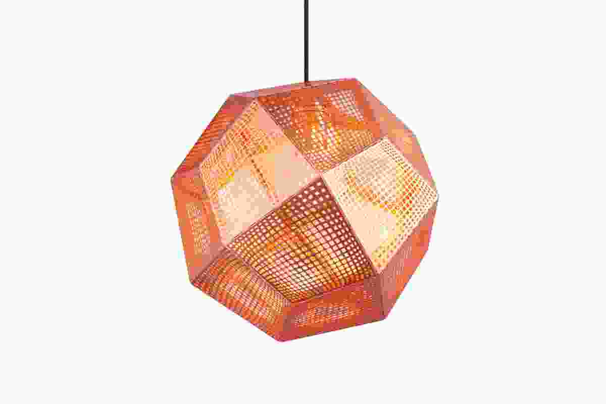 Etch light, a digital fabrication whose size, shape and material can be adapted. Shown here in copper.