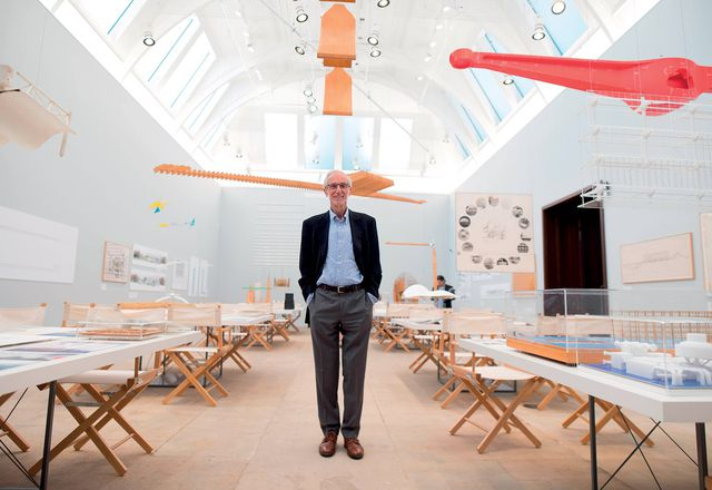 Italian architect Renzo Piano at the Renzo Piano: The Art of Making Buildings exhibition on display at the Royal Academy of Arts, London.