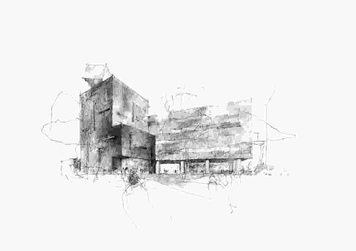Sketches of the proposed Molecular Horizons facility by Denton Corker Marshall.