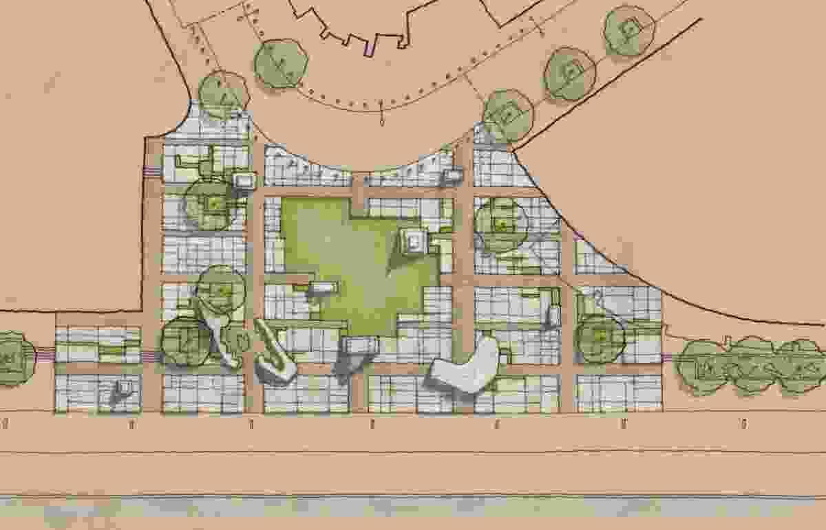 """Monument Park's site plan features a """"concrete carpet"""" drawn from the original Hoddle Grid plan for Melbourne."""