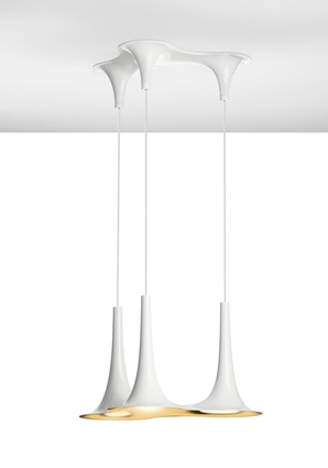 Nafir lights with gold interior and white exterior by Karim Rashid.