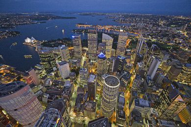 Aerial photograph of Sydney from Australia's exhibition at the 2010 Venice Architecture Biennale, Now and When.