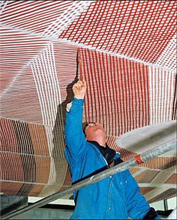 John Mawurndjul's  Mardayin at Milmilngkan being painted onto the bookshop ceiling. Image: Philippe Ruault