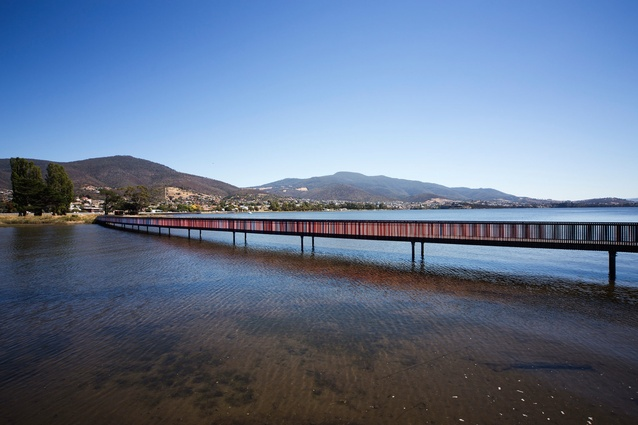 Stage One of the GASP project included an elevated walkway over the Derwent following the four-kilometre trail from MONA to Wilkinsons Point.