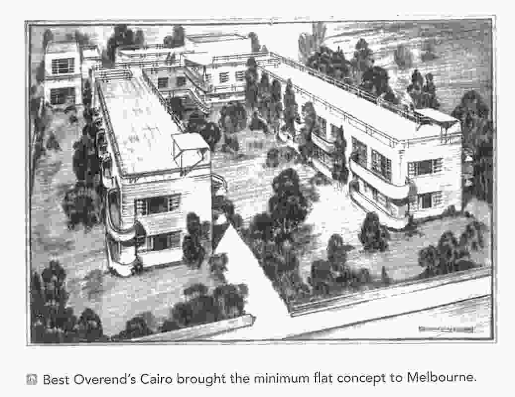 Cairo Apartments perspective, Taylor, Soilleux and Overend, 1936.