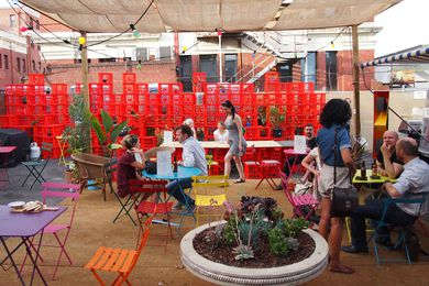 The School of Life pop-up space was almost entirely constructed by volunteers on a small budget.