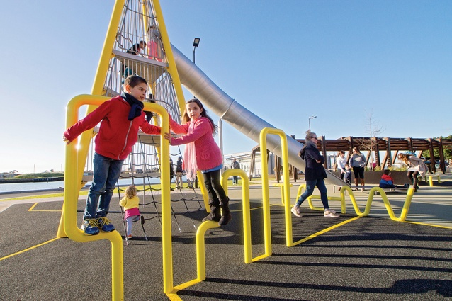 The playground achieves a substance befitting the solid materiality of the port environment.