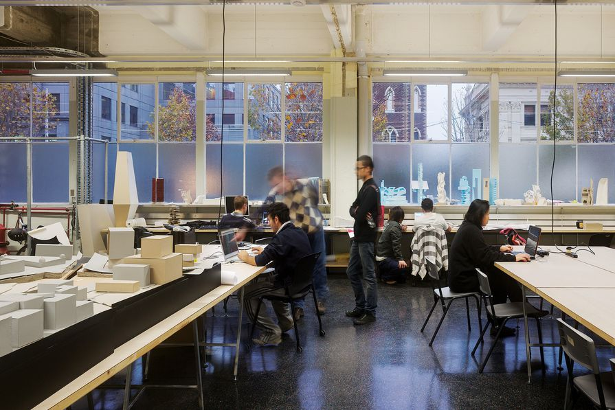 Architecture students at work in RMIT's Building 45.