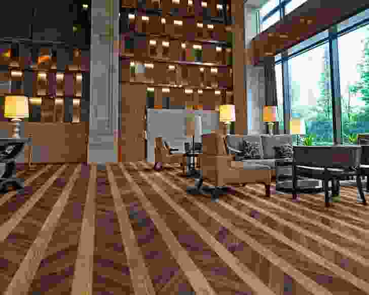 Tanned Chevron Parquet (4112) from the Expona Commercial range.
