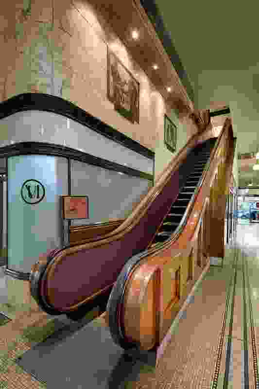Melbourne's first escalator, which connects the ground and first floors.