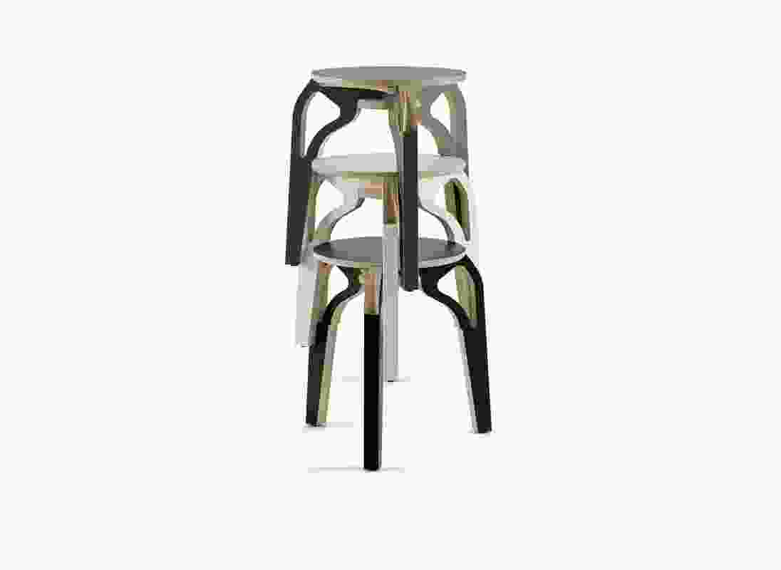 The plywood Perch stool was designed in 2009 and is available in a range of colours.