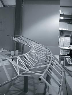 The study model of the glass canopy. Architects, engineers and the prefabrication team all used this model to finetune the canopy.Image: Russell Shakespeare