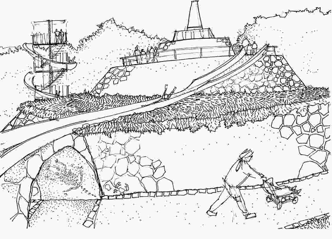 Early concept sketch for McCallum Park in Victoria Park, Western Australia.