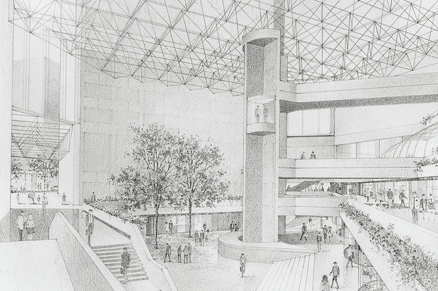 "A sketch of the ""Great Space"" at Collins Place by Pei and Partners and Bates Smart and McCutcheon."