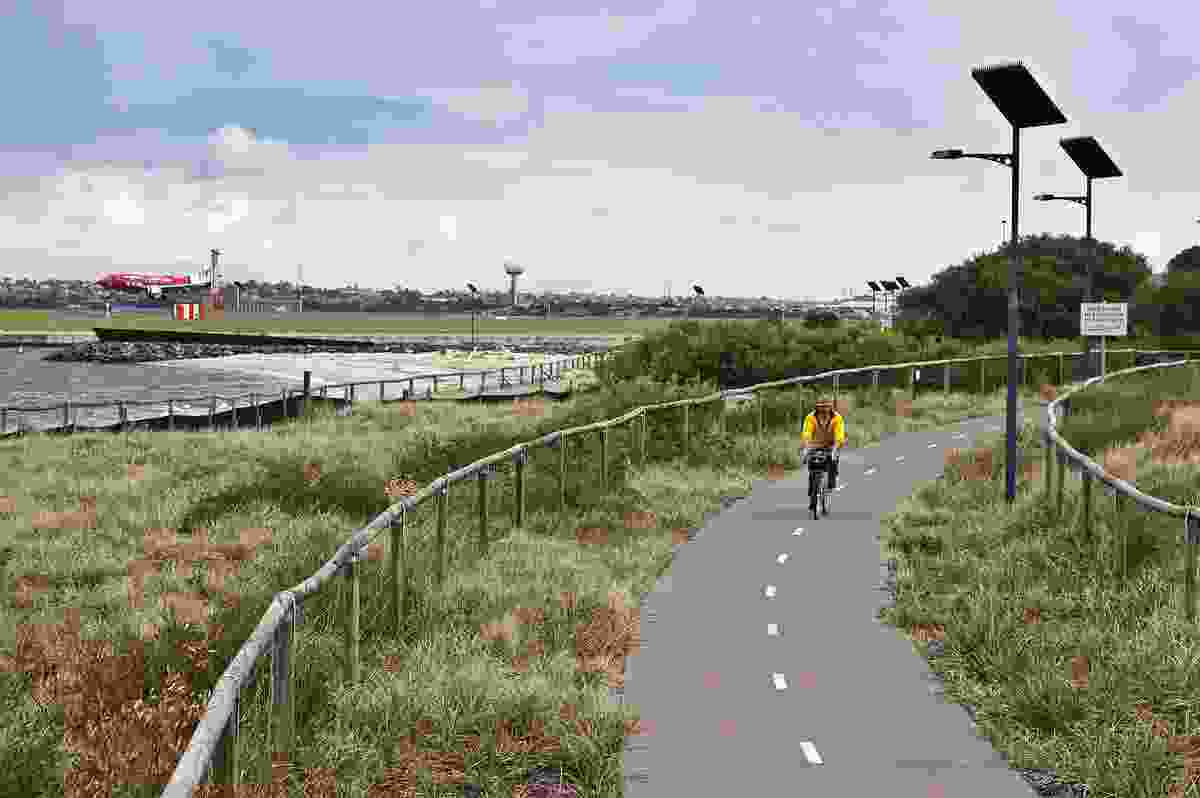 Foreshore beach rehabilitation work includes extensive revegetation and shared path networks.