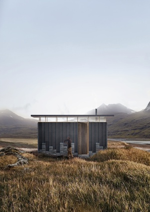 Slate Cabin by Trias is encourages hikers to stack slate tiles on the exterior of the cabin.