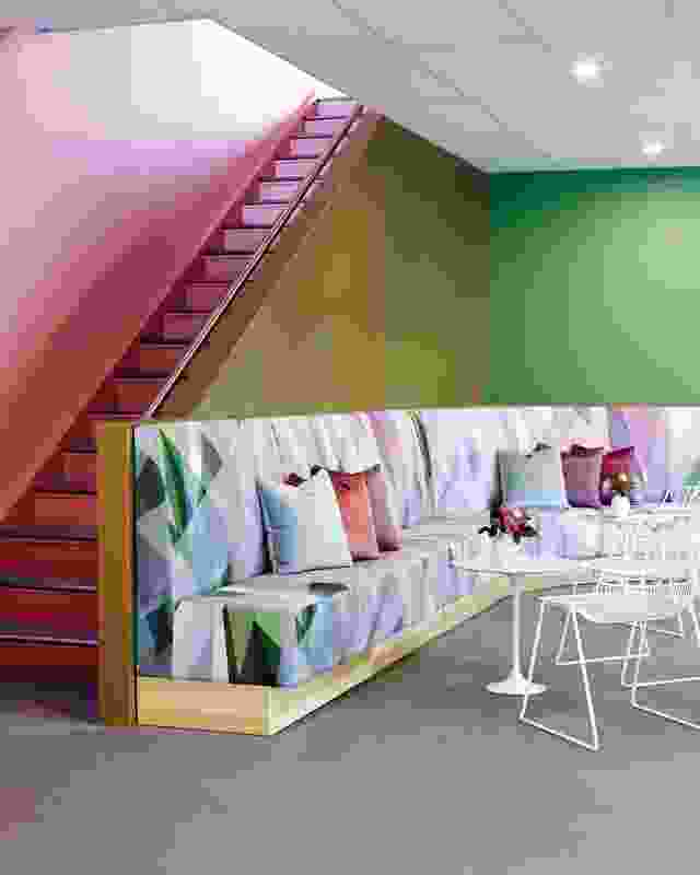 Ombre Painted walls and patterned upholstery gave the marquee peps of colour.
