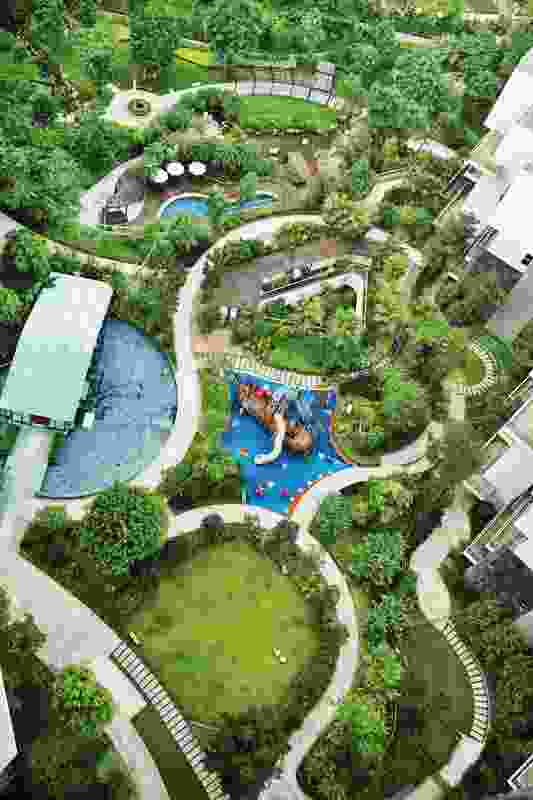Hillside apartment complex by Place Design Group, located In Shenzhen.