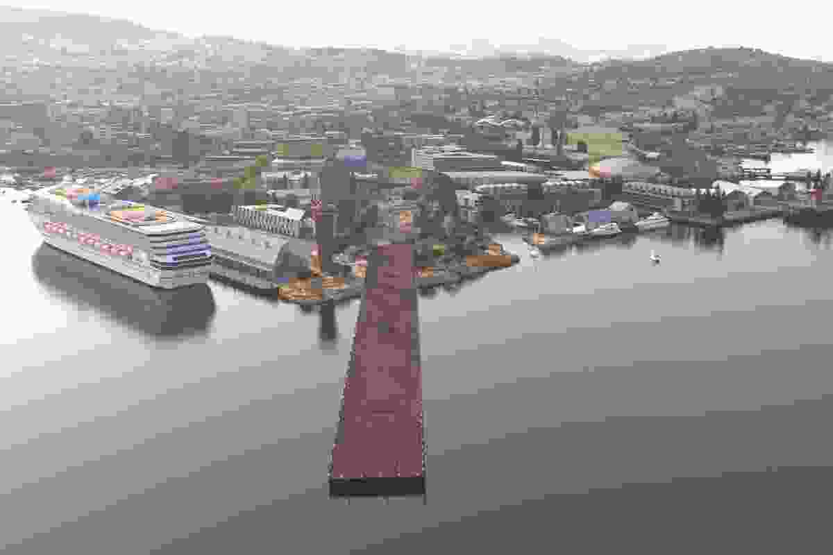 MONA's vision for the redevelopment of Macquarie Point. The collaboration between Fender Katsalidis, Rush Wright and MONA features a 650-metre reconciliation art park that will stretch out into the water.