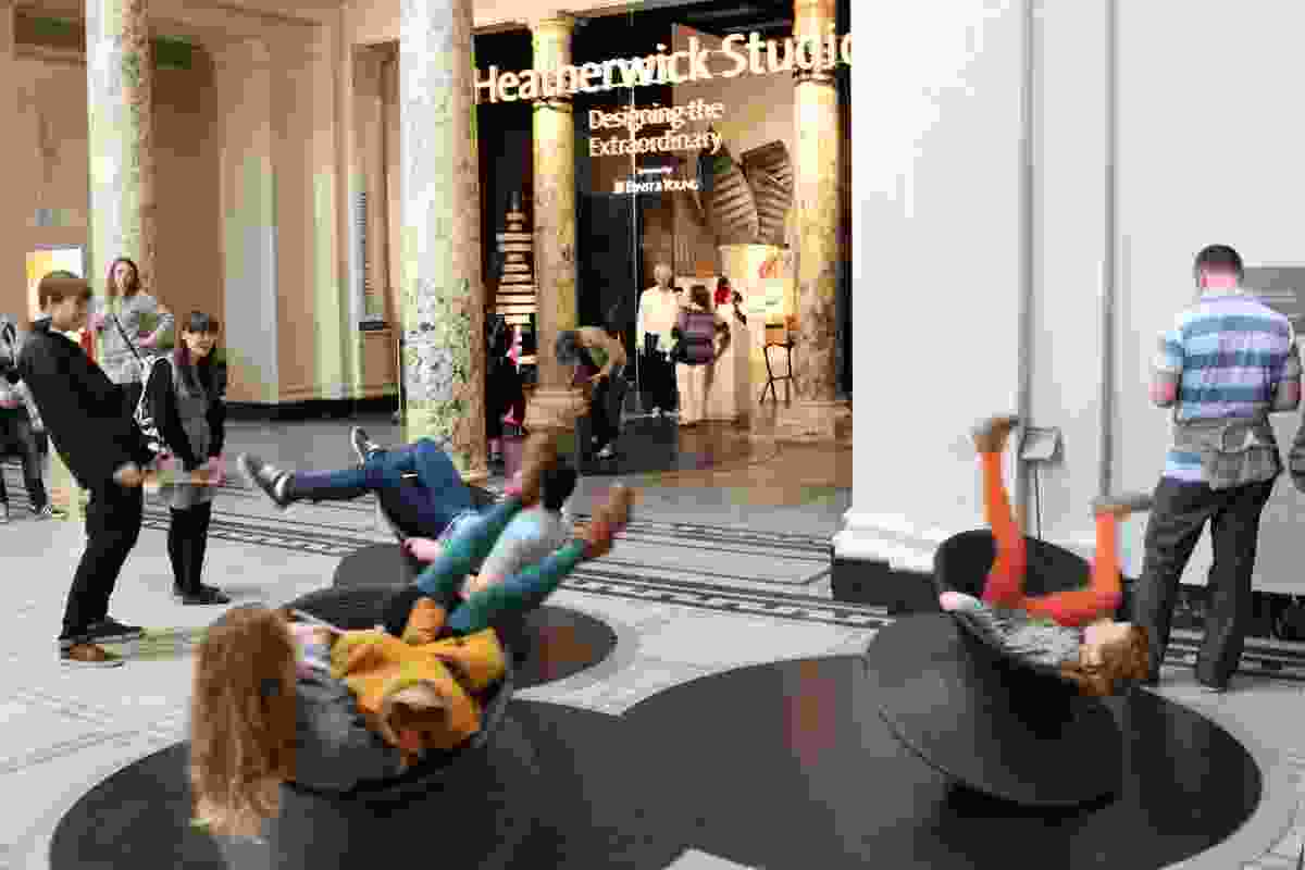 Serious fun: Heatherwick Studio's Spun Chair in the Victoria and Albert Museum foyer.
