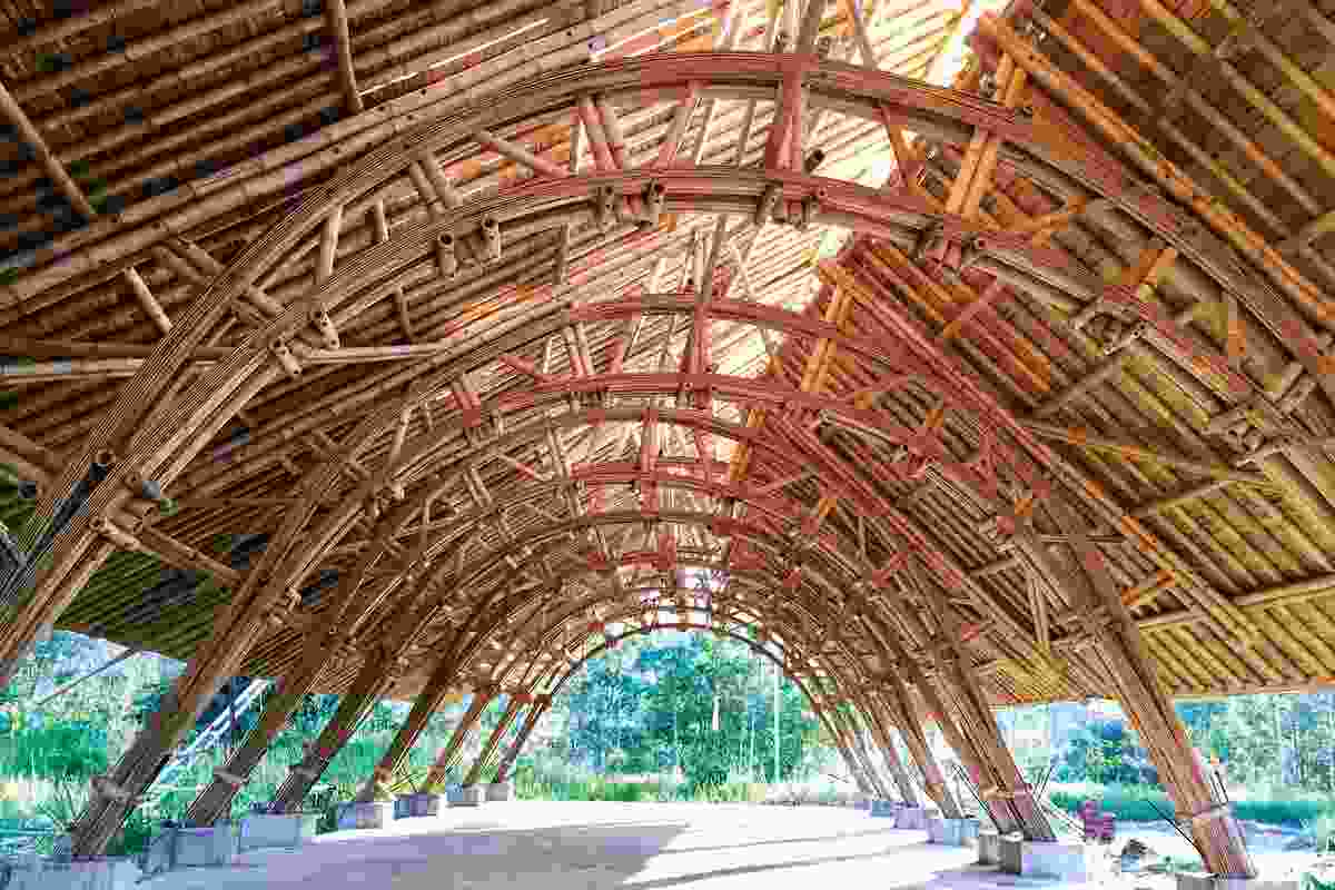 Split bamboo arched trusses were used for the community training centre, near Dawei; this solution was adopted because the local bamboo species is prone to splitting.