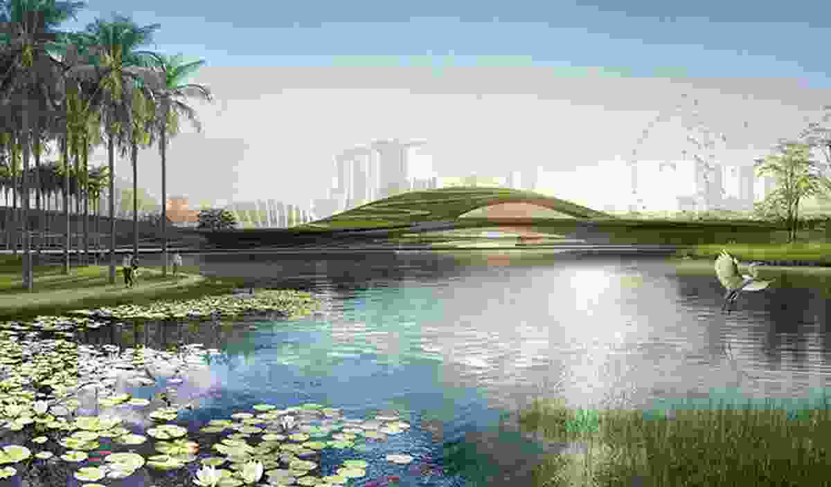 Arrival lake in the winning proposal for Singapore Founders Memorial by Kengo Kuma and Associates and K2LD Architects.
