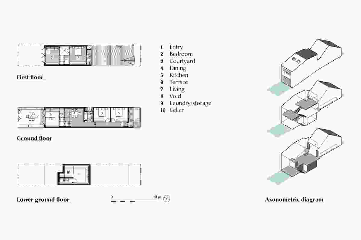 Plans and axonometric diagram of Newtown House by Hall Bowra Architects.