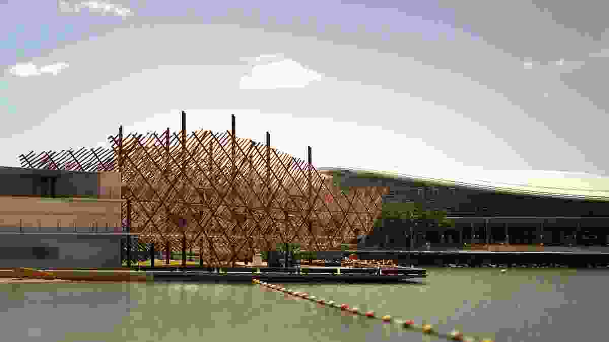 Darwin City Waterfront Signature Restaurant (competition entry 2006) by Susan Dugdale & Associates. Digital reconstruction by Keith Reid and Scott Horsburgh.