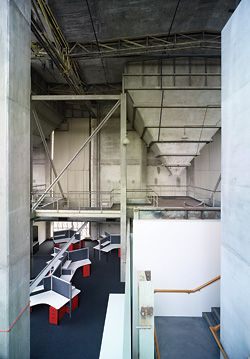 Looking down into a second-floor office space.