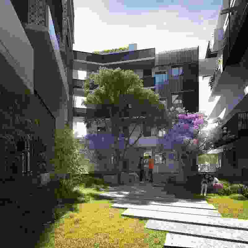 The internal courtyard of the proposed Hawke and King apartments by Six Degrees.