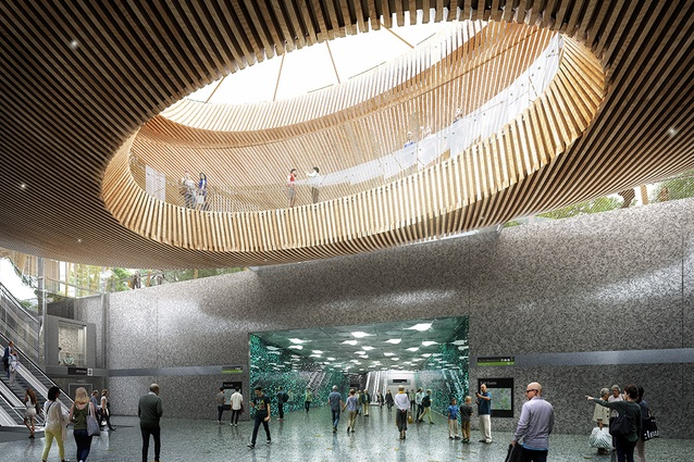 The proposed concourse for Domain station to be designed by Hassell, Weston Williamson and Rogers Stirk Harbour and Partners.