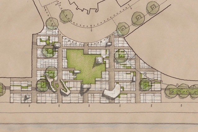 "Monument Park's site plan features a ""concrete carpet"" drawn from the original Hoddle Grid plan for Melbourne."