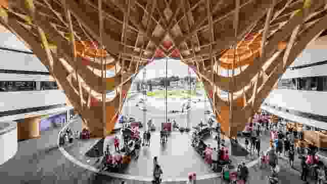 在屋顶下方,编织木材结构在两点下急剧下降,以创造一个巨大和慷慨的思域进入。
